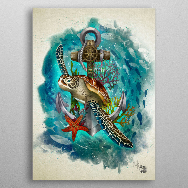 Turtle and Sea metal poster