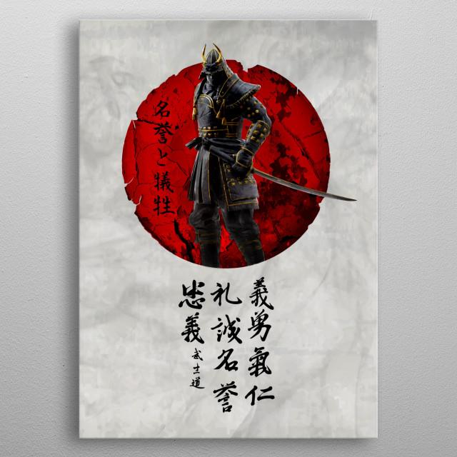 Japanese Dark Samurai metal poster