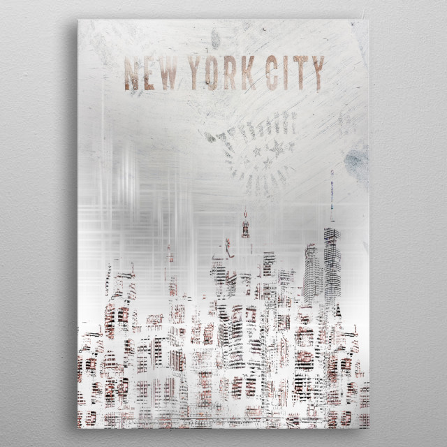 Modern colour accents and graphic nuances find a revolutionary combination in this image. A decorative shabby chic urban impression of Manhat... metal poster