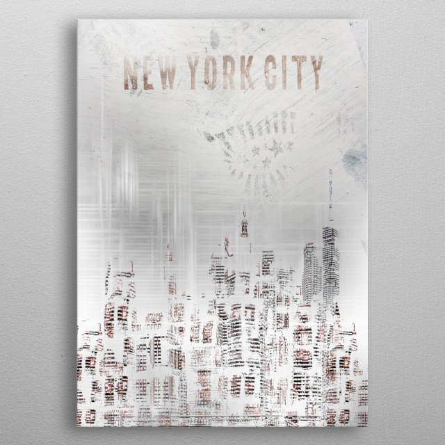 A decorative shabby chic urban impression of Manhattan skylines at night with a touch of elegance. metal poster
