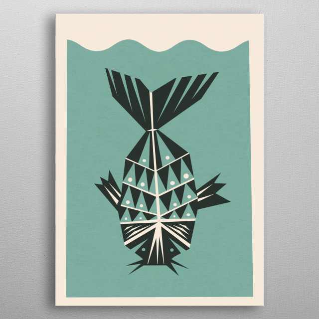 Part of a mini series of 3! There's a bird, a cat and a fish. metal poster
