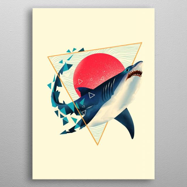 Geometric Shark metal poster
