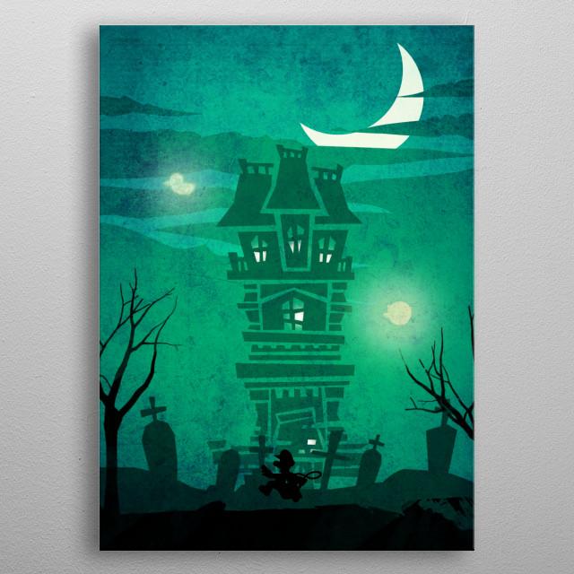 Luigi mansion metal poster