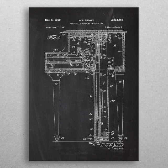 Vertically Stringed Piano metal poster