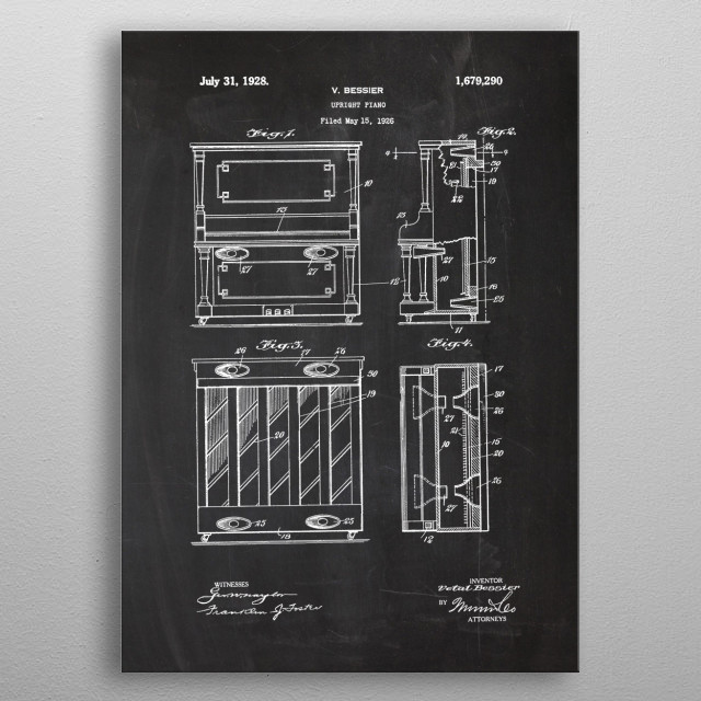 1926 Upright Piano metal poster