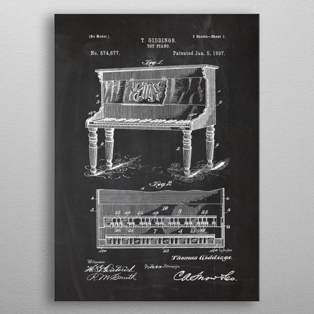 1897 Toy Piano - Patent metal poster