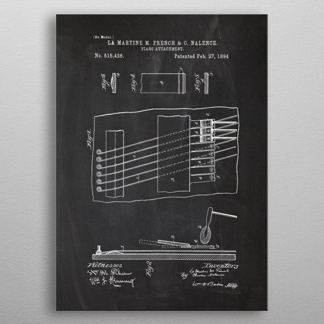 1894 Piano Attachment metal poster