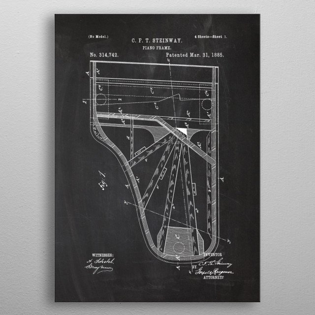 1885 Piano Frame - Patent metal poster