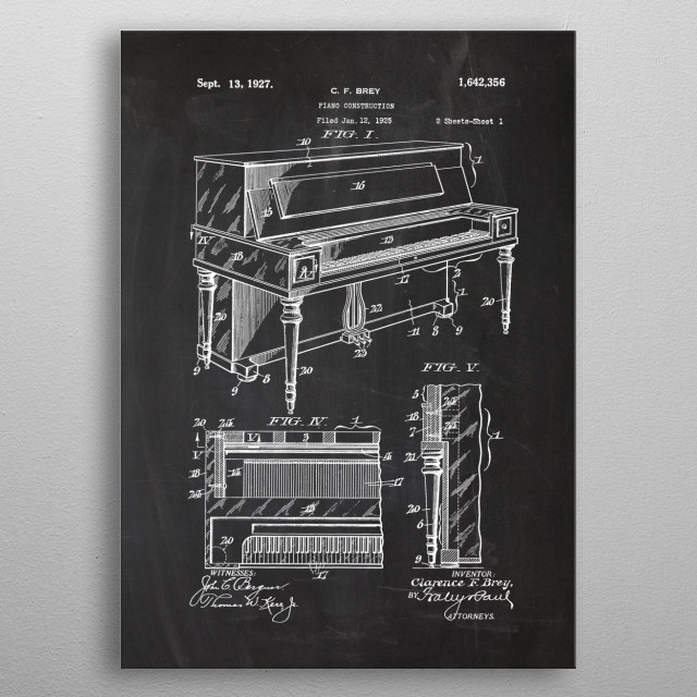 1925 Piano Construction metal poster
