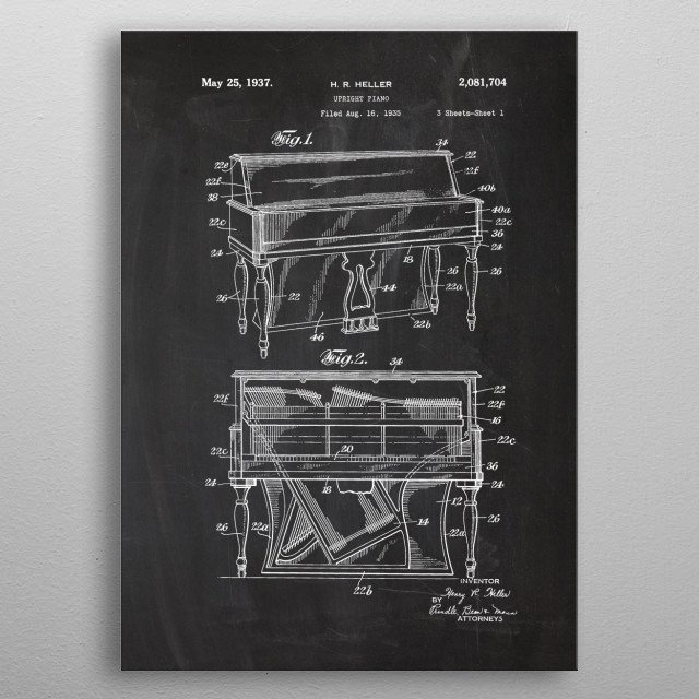 1935 Upright Piano-Patent metal poster