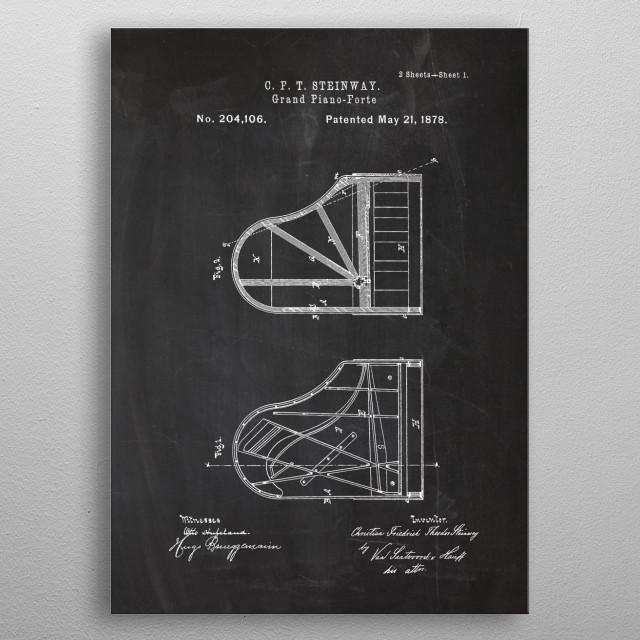 1878 Grand Piano Forte metal poster