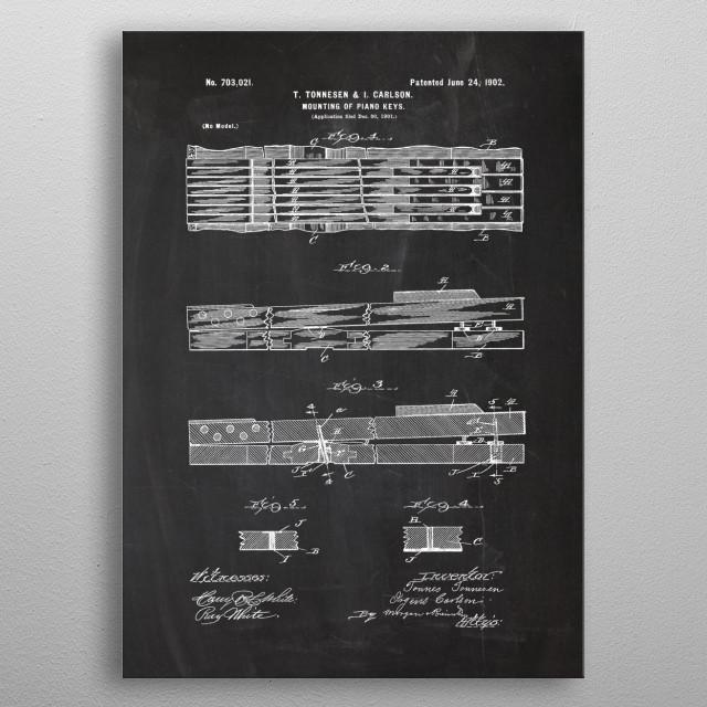 1901 Mounting of Piano Key metal poster
