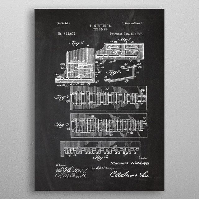 1897 Toy Piano - Patent D. metal poster