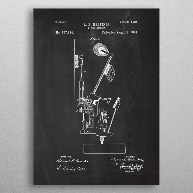 1891 Piano Action metal poster