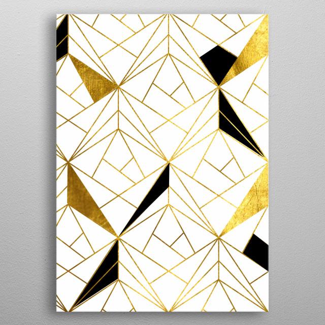 Geometric Gold Black metal poster