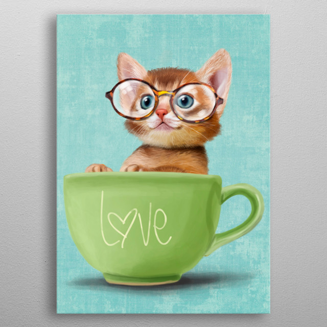 Kitten with big glasses metal poster