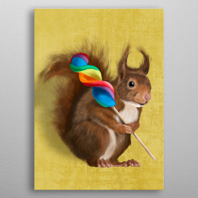 Funny squirrel metal poster