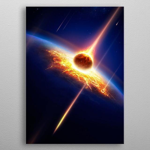 Earth meteor shower metal poster