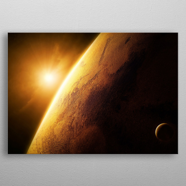 Planet Mars Sunrise metal poster