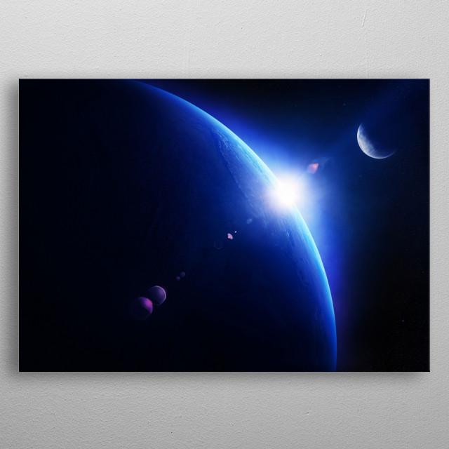 earth moon sunrise metal poster