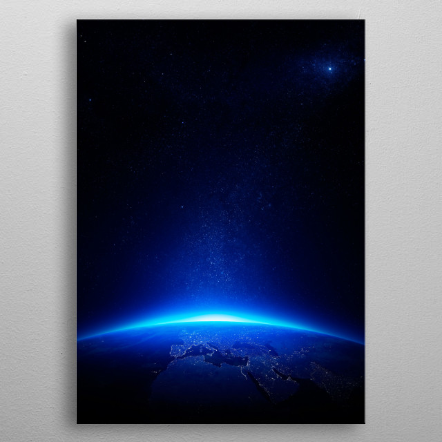 Blue earth city lights metal poster