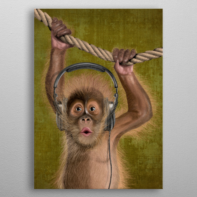 I love music (monkey) metal poster
