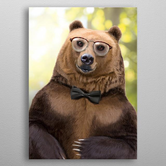 Mr Bear portrait metal poster