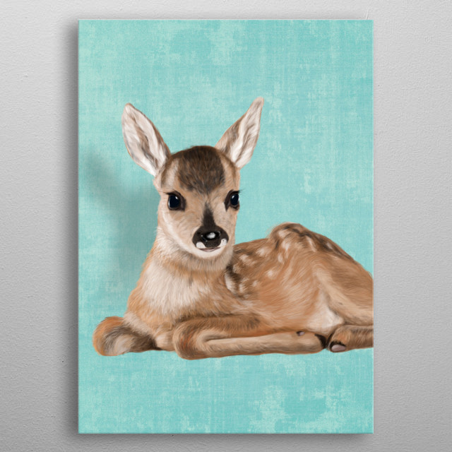 Little fawn metal poster