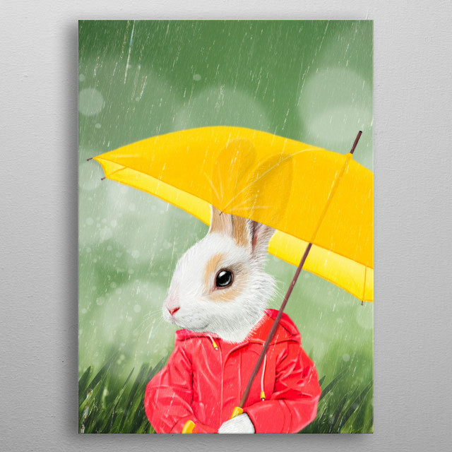 It's raining, little bunny metal poster