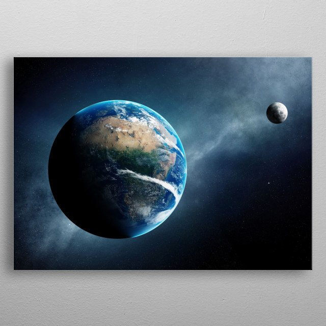 earth and moon from space metal poster