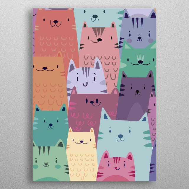 Pastel Cats metal poster