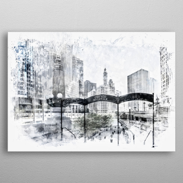 A modern and decorative artwork with a famous downtown view of Chicago Riverwalk. metal poster