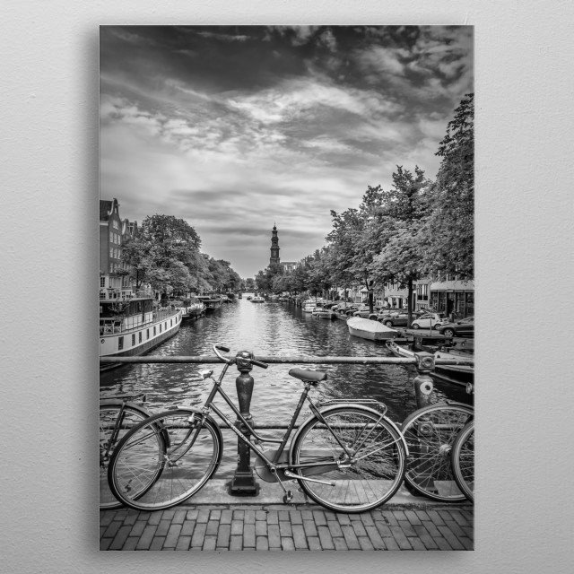 The canals are a symbol of Amsterdam and of great cultural and historical value. Prinsengracht (Prince's Canal) is the longest of the three m... metal poster