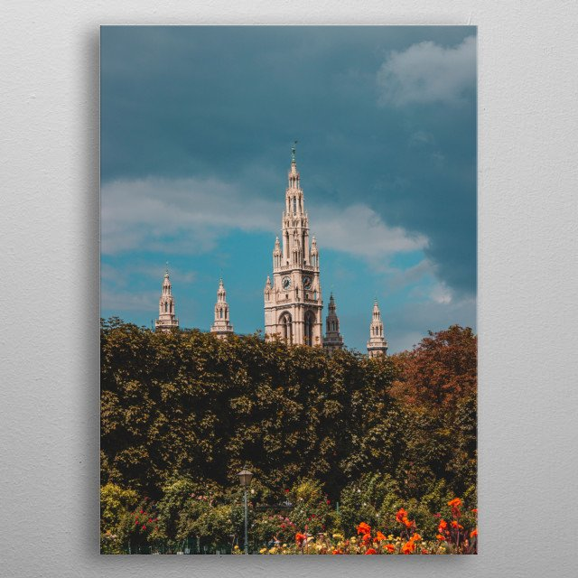 View of Vienna city hall metal poster