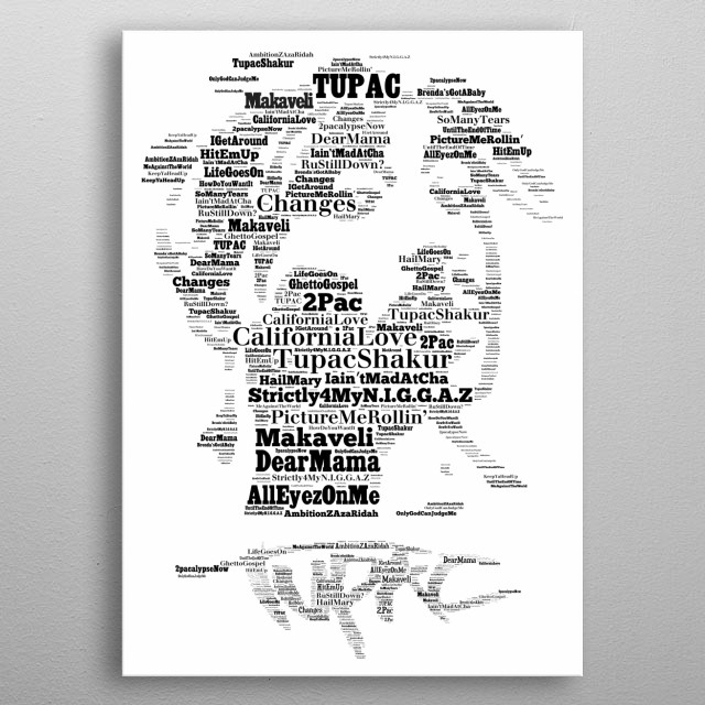 Tupac Icon Word ArtTribute metal poster