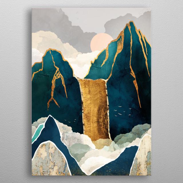 Golden Waterfall metal poster