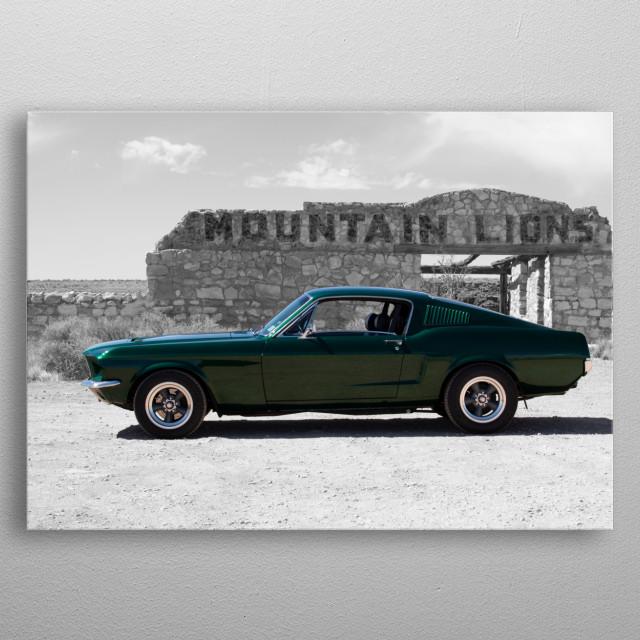 Mt Lion Mustang metal poster