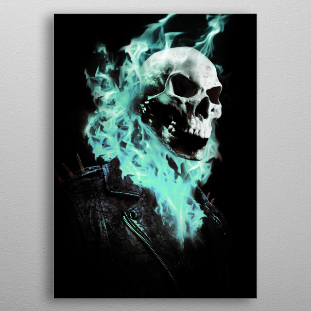 Ghost Rider Blue Flames, done in photoshop. metal poster