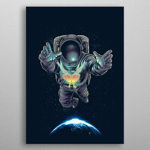 Space Butterfly metal poster