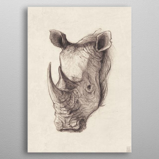 Pencil Drawing of a rhinoceroson metal poster