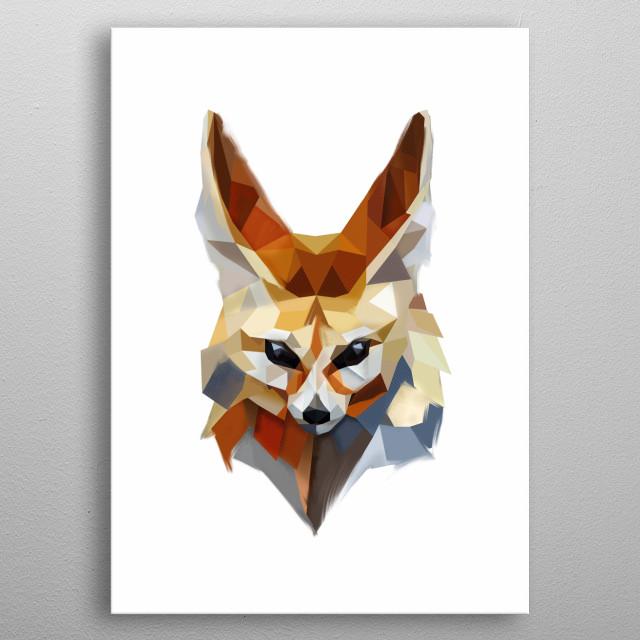 Modern Fennec head - desert fox metal poster
