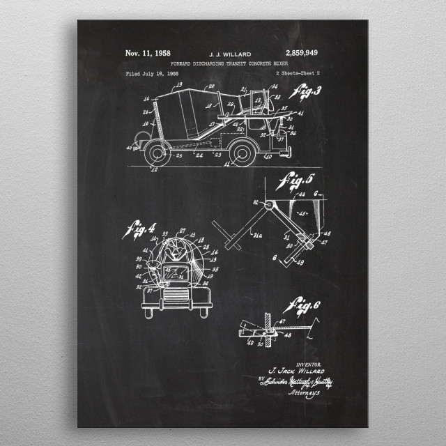 1955 Concrete Mixer-Patent metal poster