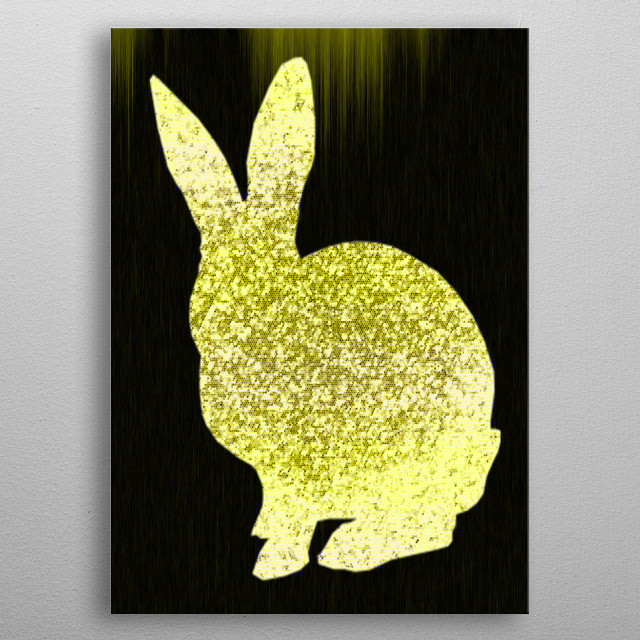 painting of a rabbit metal poster
