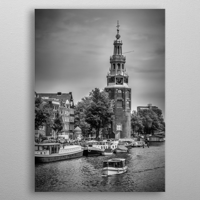 The Montelbaanstoren is a historic tower on bank of the canal Oudeschans in Amsterdam, Netherlands. Classical monochrome cityscape. metal poster