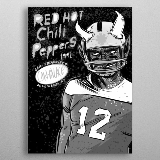 Red Hot Chilli Peppers grayscale edition metal print metal poster