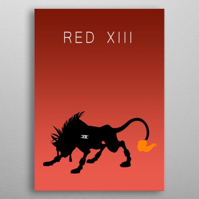 Minimalist Red XIII metal poster