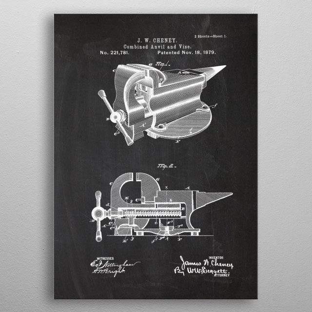 Combined Anvil and Vise metal poster