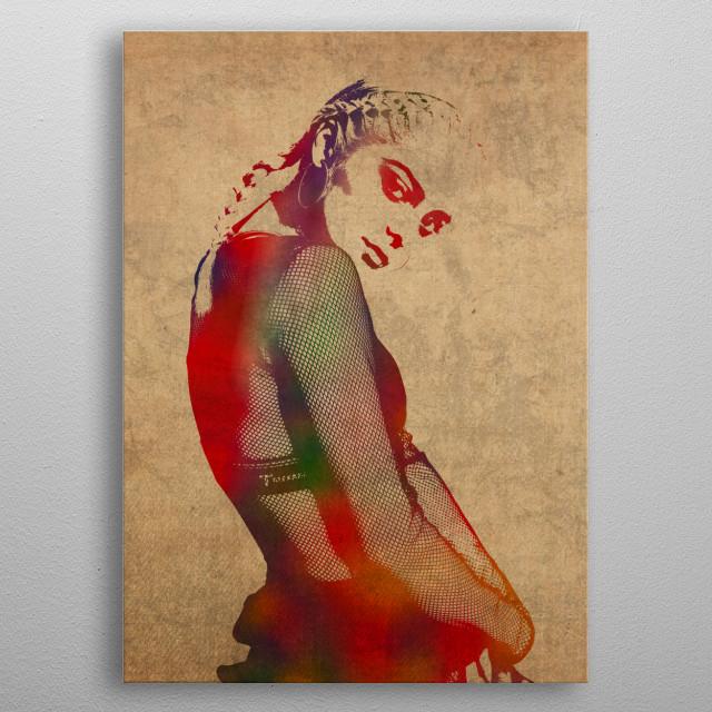 Bebe Rexha Watercolor metal poster