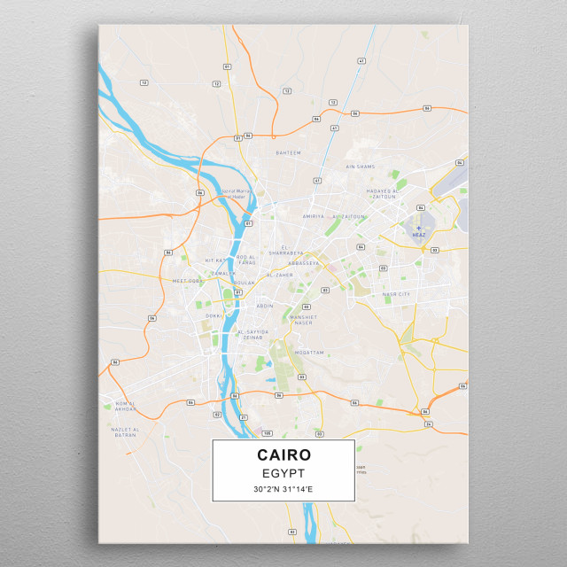 Cairo map by Rockstone | metal posters - Displate