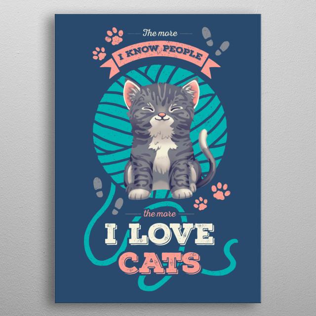 I Love Cats metal poster